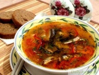 как готовить суп с килькой в томатном соусе