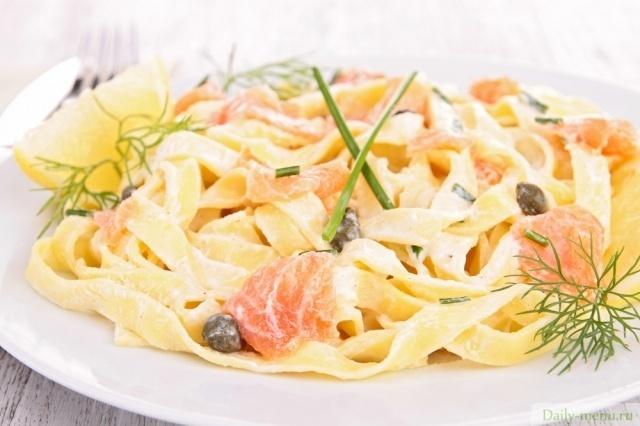 рецепт спагетти с семгой в сливочном соусе